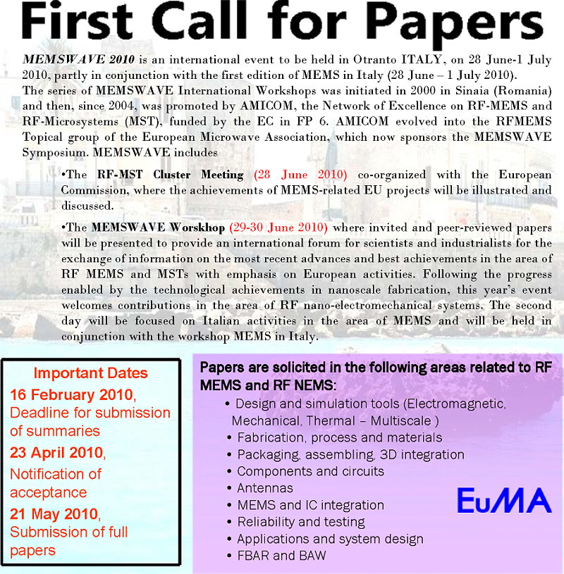 Call for Papers - page #1
